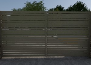 Slat panel double gate